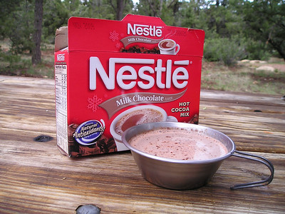 Of all the things that it never occurred to me to bring--because it was going to be HOT, remember?--was hot chocolate. So I bought some of that at the general store, too. Boy, was it good.