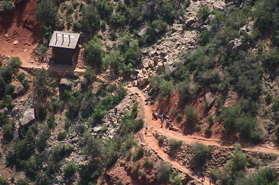 There's an actual outhouse about every one and 1/4 miles along the Bright Angel Trail.