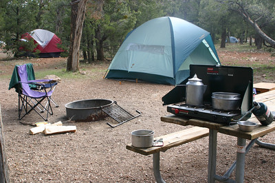 Hot water cooks for breakfast. (We were big on simple meals.) At Mather Campground, at Grand Canyon Village.