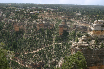 Here's a first glimpse of the most-traveled trail in the park, the Bright Angel Trail, starting at Grand Canyon Village and going across the canyon face to the right, then sashaying left and right again.