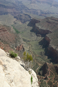 Bright Angel Trail out to the edge of the lower plateau.