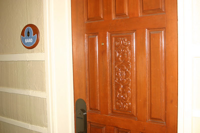 We moseyed through El Tovar's hallway. Very snazzy carved-wood doors.