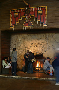 Fireplace in Bright Angel Lodge. A popular place on a cold, snowy day.