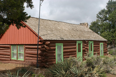 The Buckey O'Neill cabin, built in the 1890s, is the oldest surviving structure here. (Avoid snide comments about park service tearing down structures built by the Havasupai.) Colter incorporated its appearance into her design for the Bright Angel Lodge.