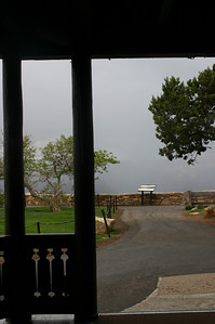 The storm rolled in again; here's what the Grand Canyon looks like from El Tovar. Not.