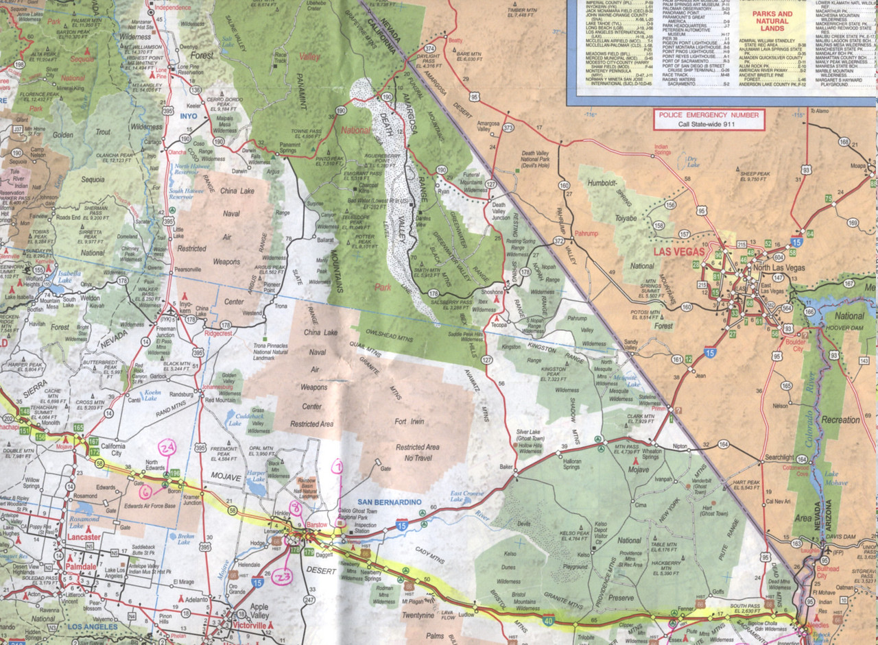 Days 1, 2, and 7 Havasu trip map