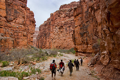 The gang - hiking down Cataract Canyon