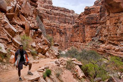 Vijay posing just before we got down to Cataract Canyon