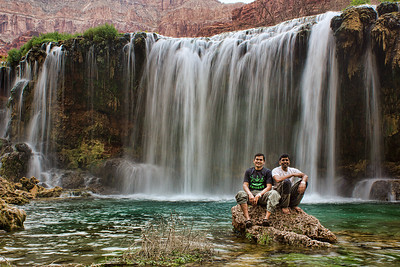 Harish and Amit pose at the base of New Navajo Falls