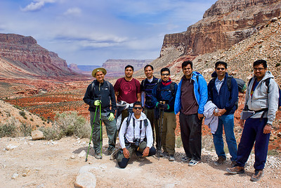 The gang - having come down the initial steepest part of the trail. Upper Hualapai Canyon in the background
