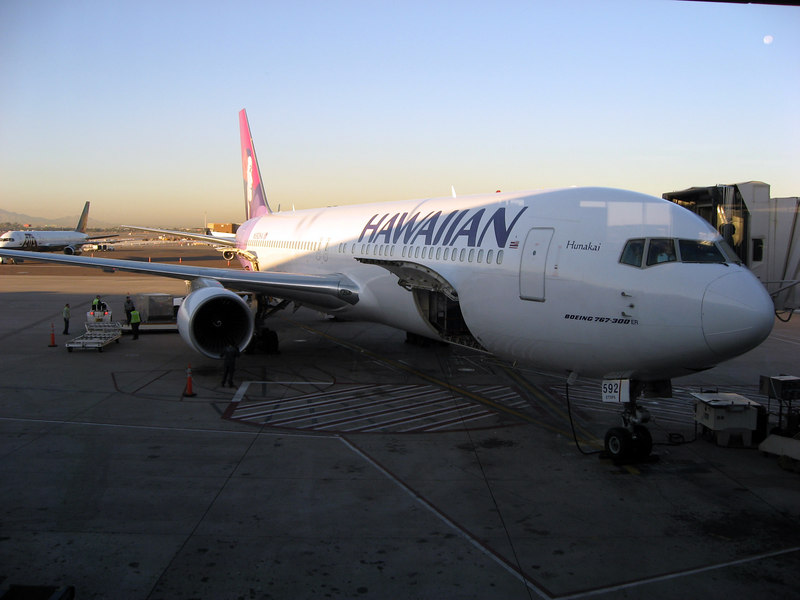 ready to board Hawaiian Airlines Flt 35, non-stop to Honolulu