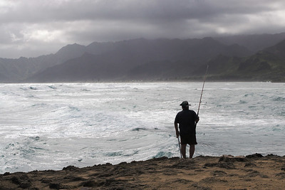 Fisherman at La'ie Point, Oahu, Hawaii