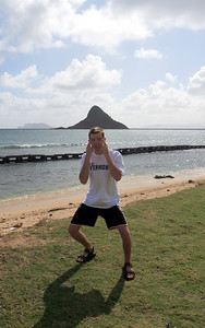 Chinaman's Hat (or Mokolii - little lizard) is located off the shore of Kualoa Park, in Kaneohe Bay, on the island of Oahu. I don't know who this is ...