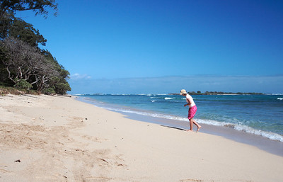 Mrs. Reichenberg at the Malaekahana Bay State Recreation Area, with Goat Island (Mokuauia) just offshore.
