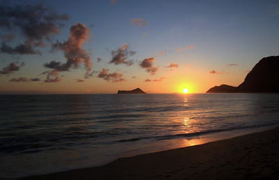 Sunrise in Waimanalo, Hawaii.