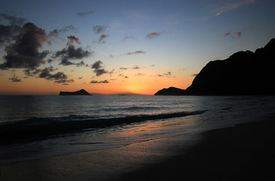 Sunrise in Waimanalo, Hawaii.