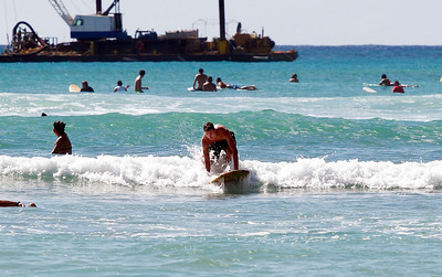 Learning to surf at Waikiki Beach. Traditional Hawaiian vistas!