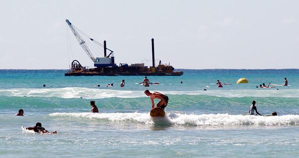Learning to surf at Waikiki Beach. More great views.