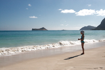 Waimanalo Beach, Oahu, Hawaii. Rabbit island in the distance.