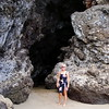 06/28/06: Diane outside of the Sea Cave located at the southern end of Hapuna Beach.