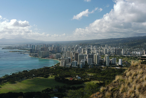 The view of Waikiki from the top of Diamondhead.