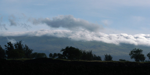 The morning clouds over the mountains of Hawaii.