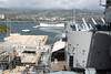 Pearl Harbour - USS Missouri.  This is a view looking towards the USS Arizona.  The three white buoys on the left side mark the location of other sunken ships.