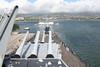 Pearl Harbour - USS Missouri.  View over forward Turrets towards USS Arizona Memorial