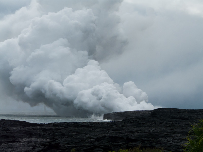 Lava flowing into the ocean, Big island