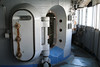 Pearl Harbour - USS Missouri.  Vault-style door leading to the Helm or steering compartment.