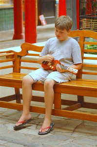 Just a boy and his ukelele....!