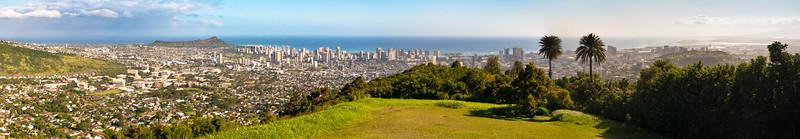 View from Pu'u 'Ualaka'a State Park. Honolulu from Diamond Head, Waikiki, National Memorial Cemetery of the Pacific, to Honolulu International Airport.