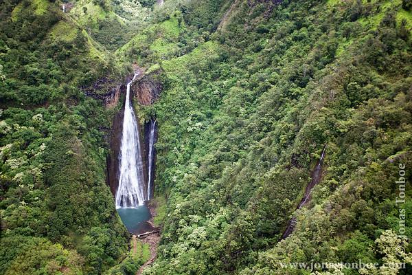 "Kauai. Blue Hawaiian Helicopters ""Kauai Eco Adventure tour"": Manawaiopuna Falls (""Jurassic Park"" waterfall)"