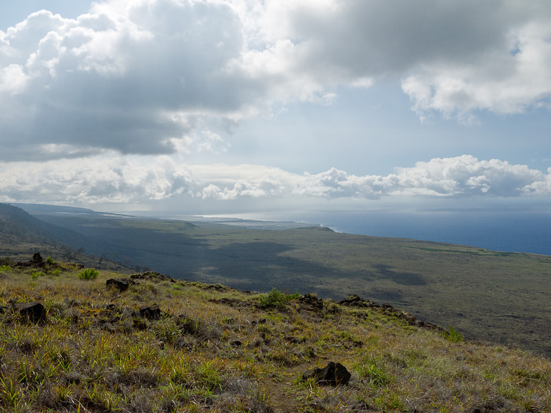 At the top of the trail at the Hilina Pali Lookup, before we hiked down to the coast.