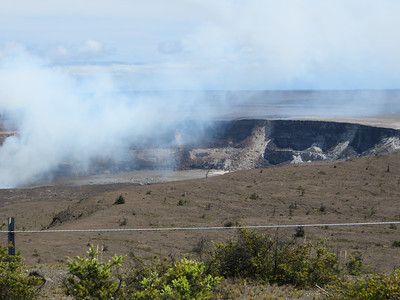 There is something called Halemaumau Crater inside the caldera.  My guidebook says it used to be a boiling lake of lava in the 19th century, but is crusted over and quiet now.  Tradition says it is the home of Pele, the volcano goddess.