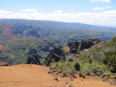 The tour bus took us to the overlook of Waimea Canyon.  There were apparently other great overlooks farther on up the road, but the big tour bus could not navigate the road above this point.