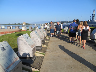 """Alongside the Bowfin is a Waterfront Memorial to submariners lost in the war.  There is a stone for each boat, with the story of the boat and the names of those """"on eternal patrol"""" inscribed on it."""