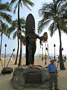 This photo needs lightening, but it shows the statue of Duke Kahanamoku, supposedly the father of modern surfing.  Whatever that means.