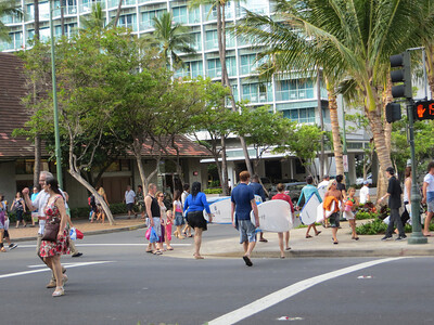 Surfboards are everywhere.  They aren't always an easy mix with the throngs of shoppers and sightseers along the streets.