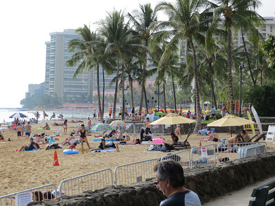 And right across the street from where the previous photo was taken is the famous Waikiki Beach.  A busy, busy place.