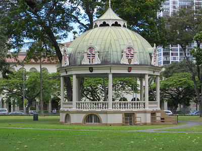 King Kalakaua decided he should have a coronation, about 9 years after he succeeded to the throne, and this pavilion was built for the occasion.  Later it became a bandstand.