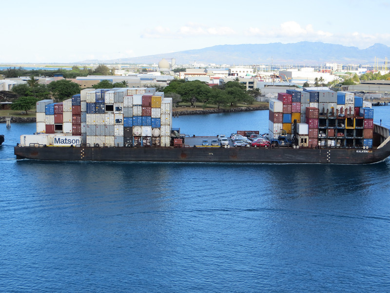 Lots of shipping containers, some cars, on board.