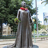 This is Queen Lili'uokalani, the last Hawaiian monarch.  Her story is a fascinating one.  She succeeded her brother, David Kalakaua, who had been forced to accept a constitution that took most of the power away from the monarch.  She was headstrong and determined to regain the power of the monarchy, but only succeeded in provoking a crisis.  A group of powerful white sugar planters and businessmen got the U.S. to (illegally) help them, and deposed her.