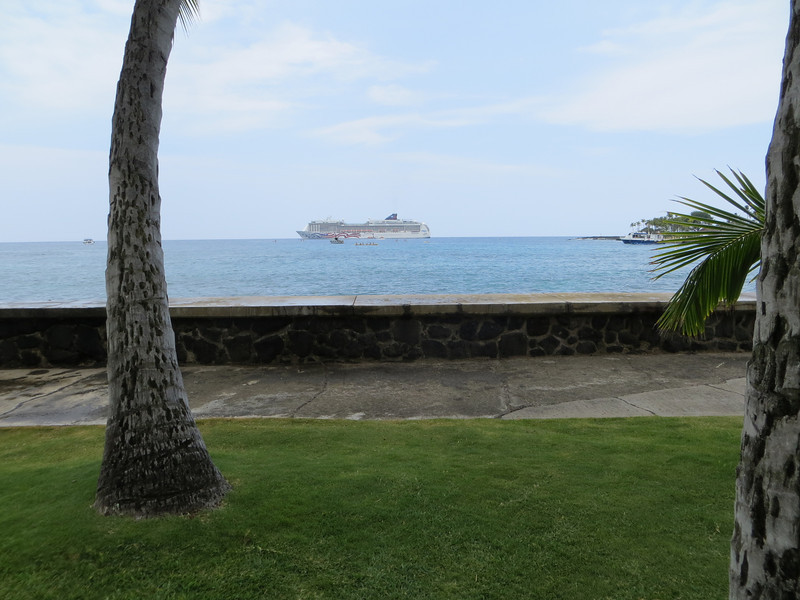 I took a few photos of the ship from shore during the trip and this is one of them.  It might be from Kona.