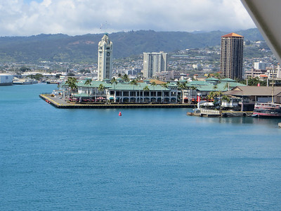 I stepped out onto our balcony and took a picture of the harbor with the city of Honolulu behind it.