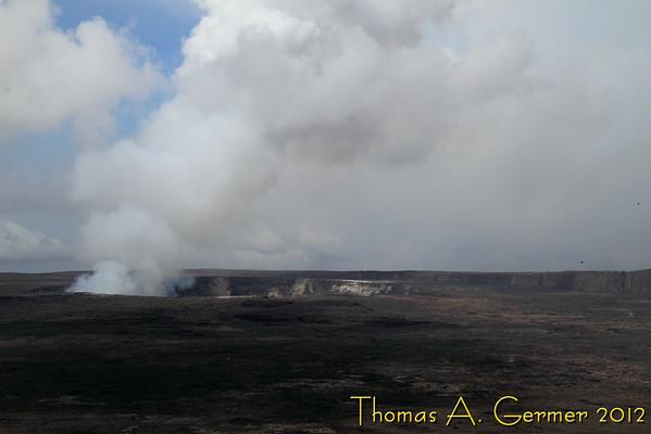 Hawai'i Volcano National Park. View of Halema'uma'u crater at Kilauea from Steaming Bluff.