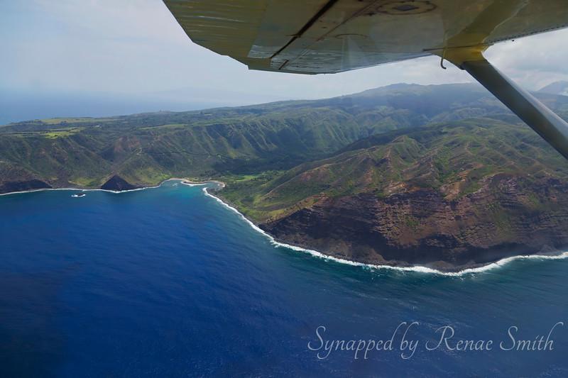 Flying along the coastline of Molokai, Hawaii.  So amazingly lush!<br /> <br /> Thanks, Ben (our Molokai friend)!  Halawa Bay & valley at the east end of Molokai.