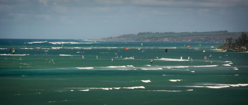 Kahului, Maui, Wind Surfers from deck