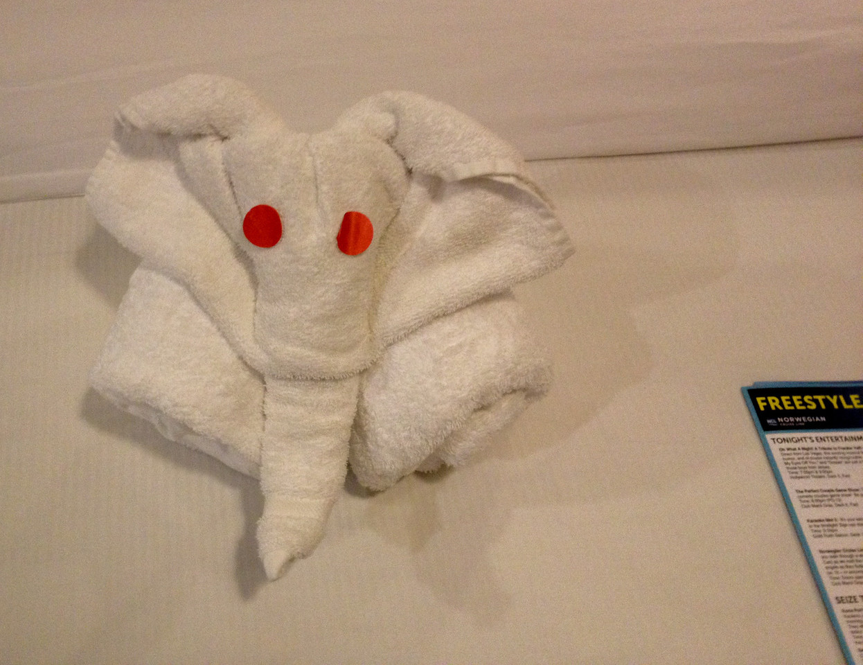 Day 3 elephant towel art