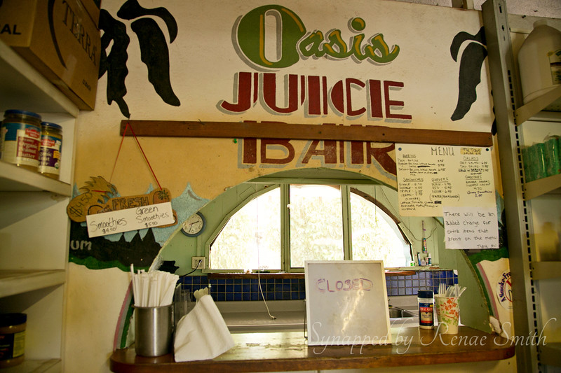 A little vegetarian snack bar inside the health-food store